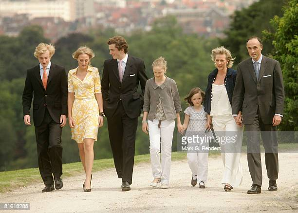Prince Joachim Princess Maria Laura Prince Amadeo Princess Luisa Maria Princess Laetitia Maria Princess Astrid and Prince Lorentz of Belgium pose...