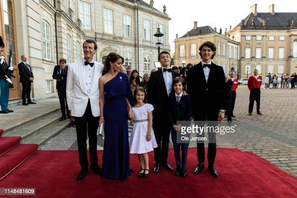 Prince Joachim, Princess Marie and their children posing during arrival at the Royal Palace where Queen Margrethe of Denmark host a dinner party...