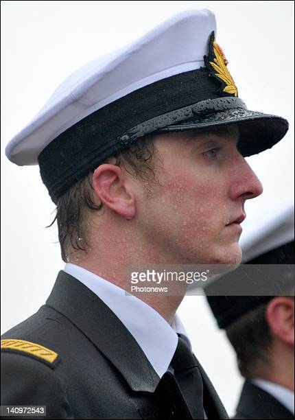 Prince Joachim stands during the Military Oath Taking Ceremony at the Base Navale Zeebrugge on March 52012 in ZeebruggeBelgium