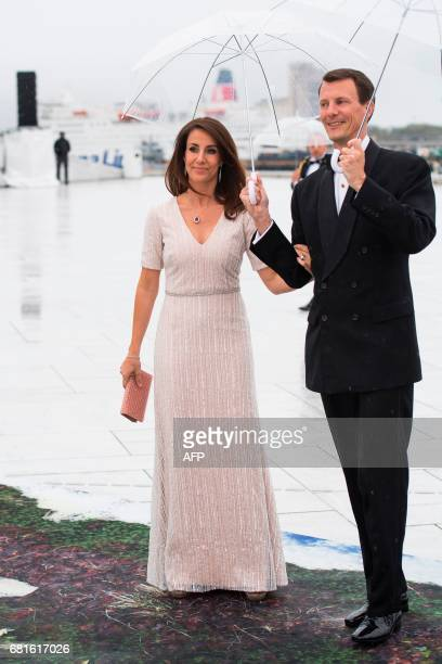 Prince Joacjim and princess Marie of Denmark arrive for a gala dinner at the Operahouse in Oslo on May 10 2017 in celebration of the 80th bithdays of...