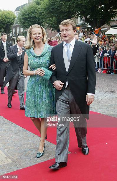 Prince Johan Friso and his wife Mabel arrive for the church wedding of Prince Pieter Christiaan and Anita van Eijk at the 'Jeroenskerk' Church on...
