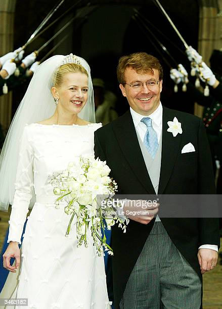 Prince Johan Friso Mabel Wisse Smit leave the church on April 24 2004 in Delft The Netherlands The Dutch government required by the constitution to...