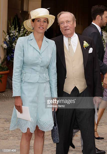 Prince Johann Georg von Hohenzollern and guest attend the religious wedding ceremony of Georg Friedrich Ferdinand Prince of Prussia to Princess...