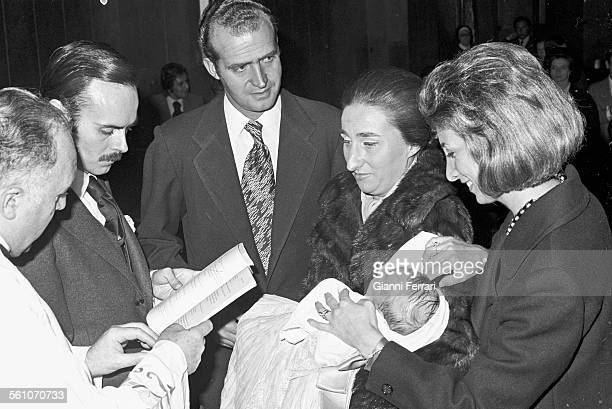 Prince Juan Carlos de Borbon at the christening of the son of his sister Princess Margarita of Borbon Madrid Spain