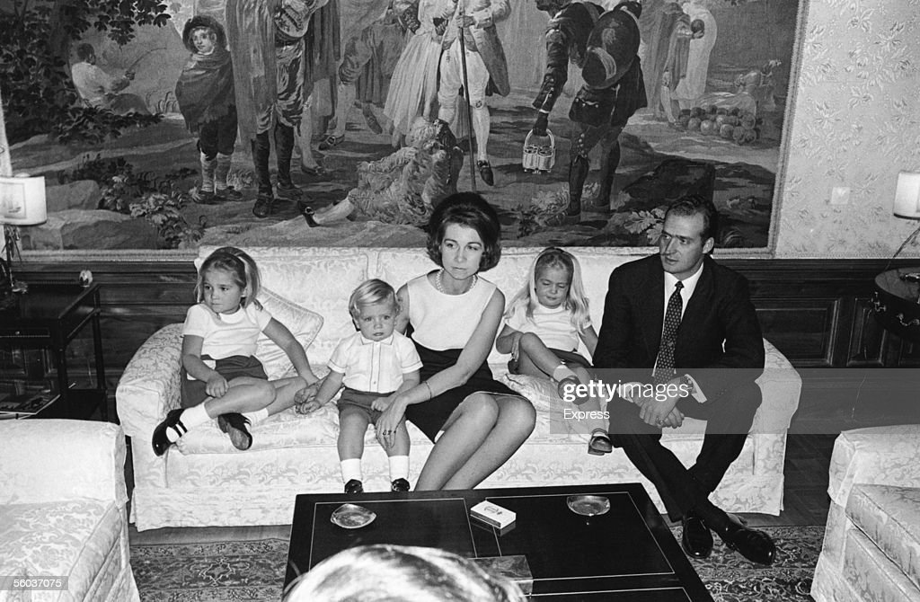 Prince Juan Carlos, future King of Spain at home in the Palace of Zarzuela, near Madrid, with his wife Princess Sophia and their children (left to right) Princess Elena, Prince Felipe and Princess Cristina, December 1969.