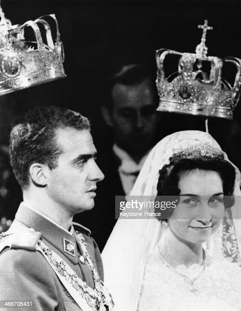 Prince Juan Carlos of Spain and Princess Sofia of Greece during their wedding ceremony on May 14 1962 in Athens Greece