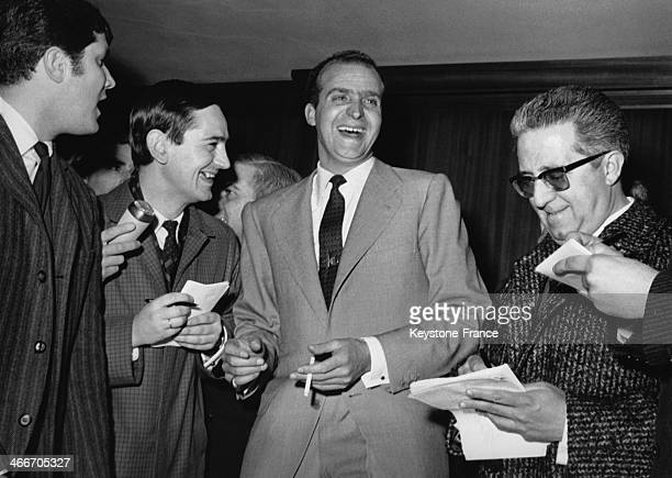 Prince Juan Carlos of Spain celebrates the birth of his first male child Felipe Juan Pablo Alfonso with journalists on February 01 1968 in Madrid...