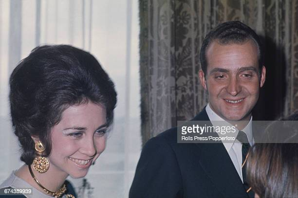 Prince Juan Carlos of Spain pictured with his wife Princess Sofia of Spain during a visit to meet with President Richard Nixon in Washington DC...