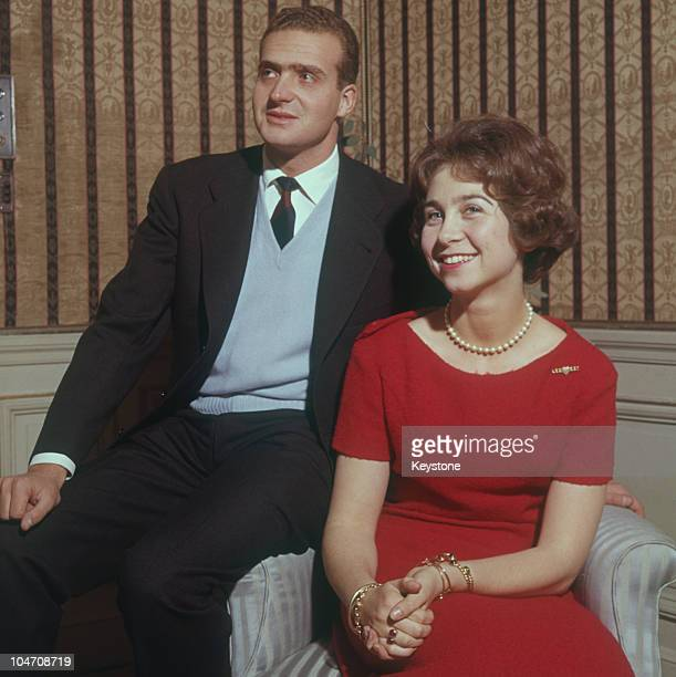 Prince Juan Carlos of Spain with his fiance Princess Sofia of Greece after the announcement of their engagement in 1962.