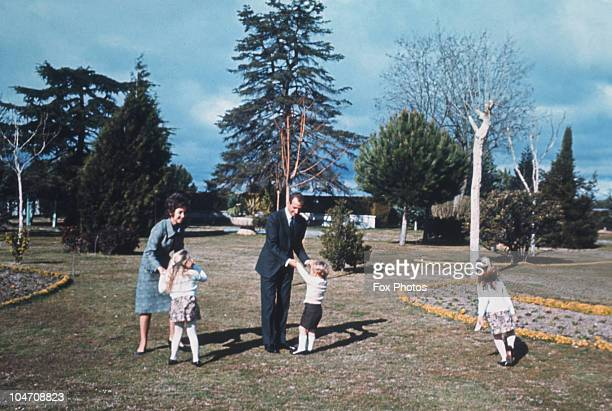 Prince Juan Carlos of Spain with his wife Princess Sofia and their children Felipe Elena and Cristina in Madrid in 1971