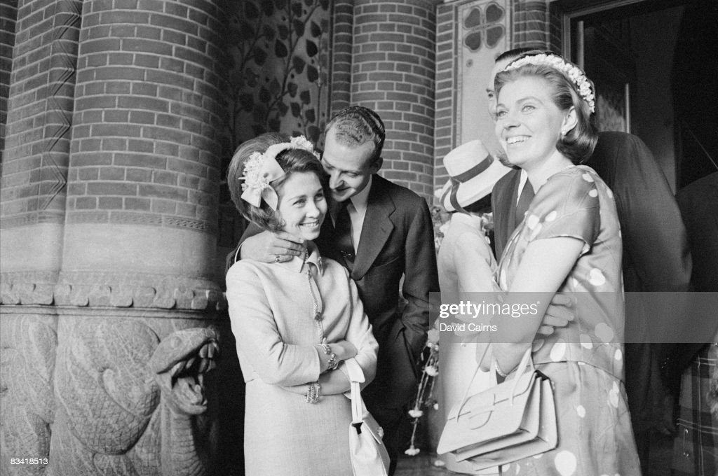 Prince Juan Carlos of Spain with his wife, Princess Sofia, at the wedding of Princess Margrethe of Denmark to French diplomat Henri de Laborde de Monpezat in Copenhagen, 10th June 1967. The couple on the right are Mr and Mrs John Ambler.