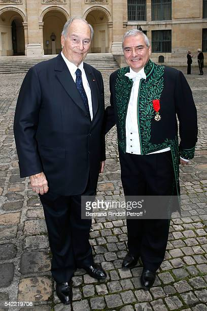 Prince Karim Aga Khan and architect Dominique Perrault attend Dominique Perrault becomes a Member of the 'Academie des BeauxArts' Architecture...