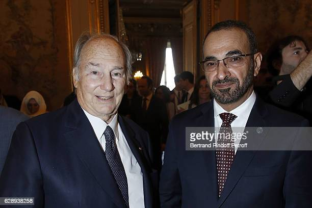 Prince Karim Aga Khan and Foreign Affair of Arabic Emirate United Faris Al Mazrouei attend the ceremony for John Kerry being decorated 'Grand...