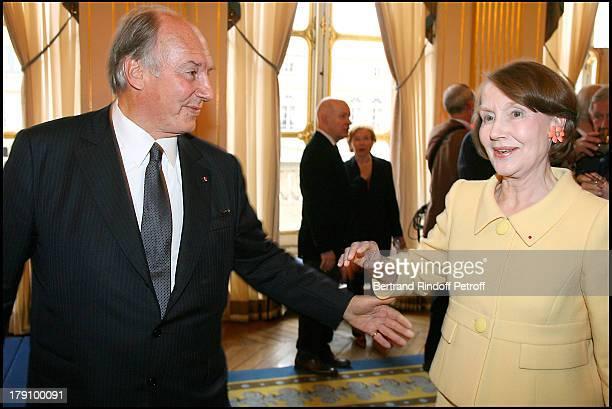 Prince Karim Aga Khan and Helene David Weil at Christine Albanel Presents The 'Grand Patron' And 'Grand Donor' Award To His Highness The Aga Khan At...