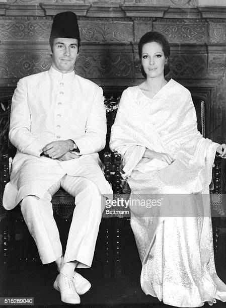 Prince Karim Aga Khan and Lady Sarah CrichtonStuart pose for photographers here Oct 27th during rehearsal for their religious wedding ceremony on Oct...