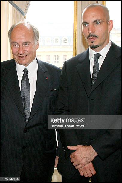 Prince Karim Aga Khan and son Rahim Aga Khan at Christine Albanel Presents The 'Grand Patron' And 'Grand Donor' Award To His Highness The Aga Khan At...