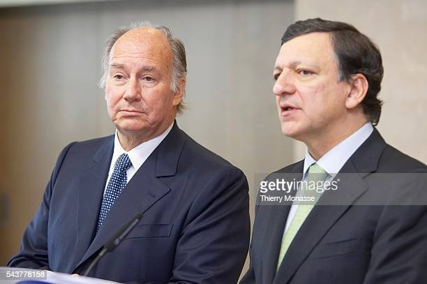 Prince Karim Aga Khan IV and the President of the European Commission Jose Manuel Barroso talks to media after they sign an agreement at the European...