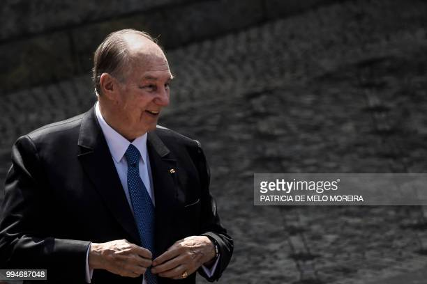 Prince Karim Aga Khan IV arrives at Belem Palace in Lisbon on July 9 2018 The Aga Khan attends celebrations in Lisbon to mark the diamond jubilee of...