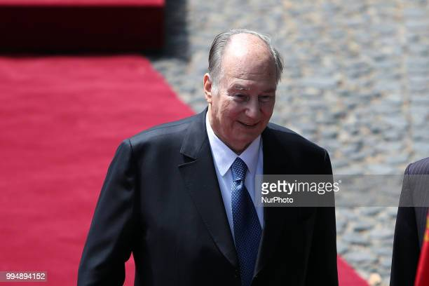 Prince Karim Aga Khan IV during an official visit at the Belem Palace in Lisbon Portugal on July 9 2018 Prince Karim Aga Khan IV will be in Lisbon...