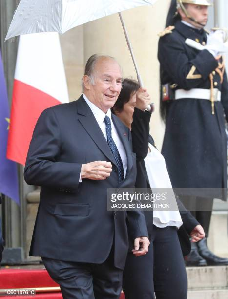 Prince Karim Aga Khan IV leaves after a lunch at the Elysee Palace in Paris on November 11 during commemorations marking the 100th anniversary of the...