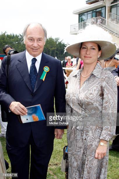 Prince Karim Aga Khan IV the hereditary Imam of the Shia Imami Ismaili Muslims and daughter Princess Zahra Aga Khan attend the Prix de DianeHermes...
