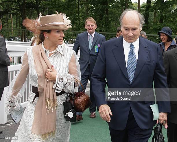Prince Karim Aga Khan IV the hereditary spiritual Imam of the Shia Imami Ismaili Muslims, and his daughter Princess Zahra walk together after 'Le...