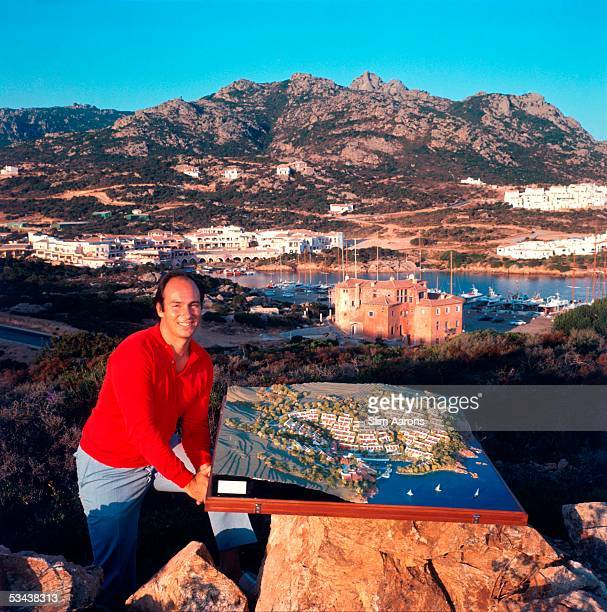 Prince Karim Aga Khan oversees the development of Porto Cervo on the Costa Smeralda Sardinia 1960