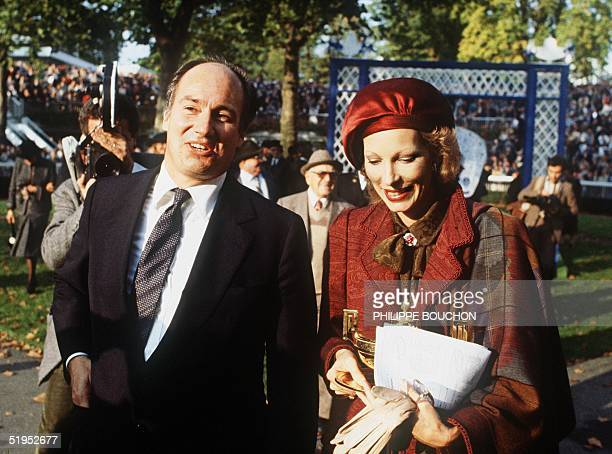 Prince Karim Aga Khan religious leader and imam of 50 million followers worldwide arrive with his wife the Begum Salimah at the ' Prix de l'Arc de...