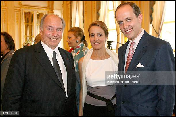 Prince Karim Aga Khan with Duke and Duchess De Vendome at Christine Albanel Presents The 'Grand Patron' And 'Grand Donor' Award To His Highness The...