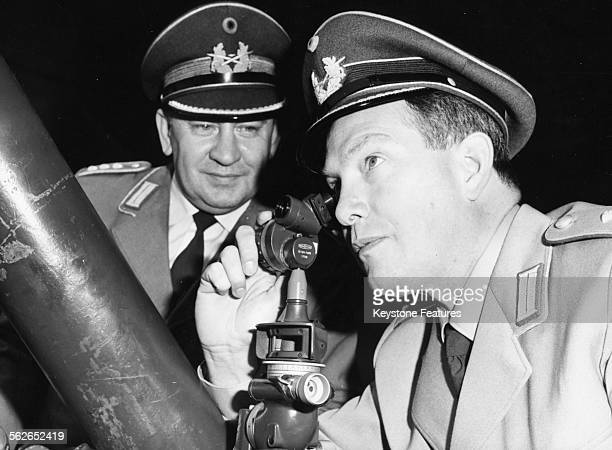 Prince Konstantin of Bavaria is instructed by Captain Teichmann on how to use a 120mm mortar November 8th 1963