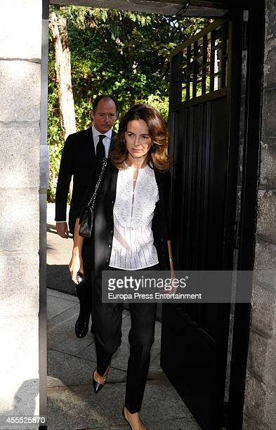 Prince Konstantin of Bulgaria and Maria Garcia de la Rasilla attend the funeral chapel for Isidoro Alvarez president of El Corte Ingles who died at...