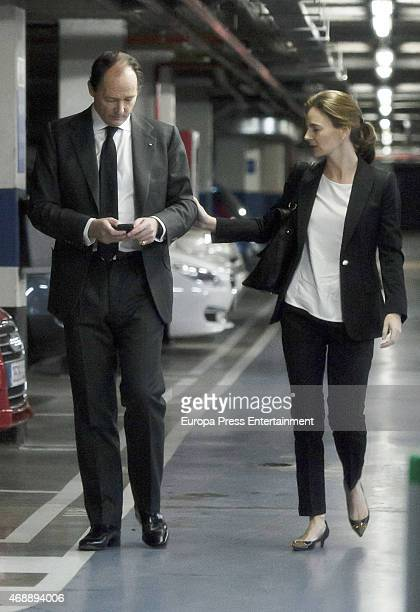 Prince Konstantin of Bulgaria and Maria Garcia de la Rasilla attend the funeral chapel for Prince Kardam of Bulgaria on April 7 2015 in Madrid Spain