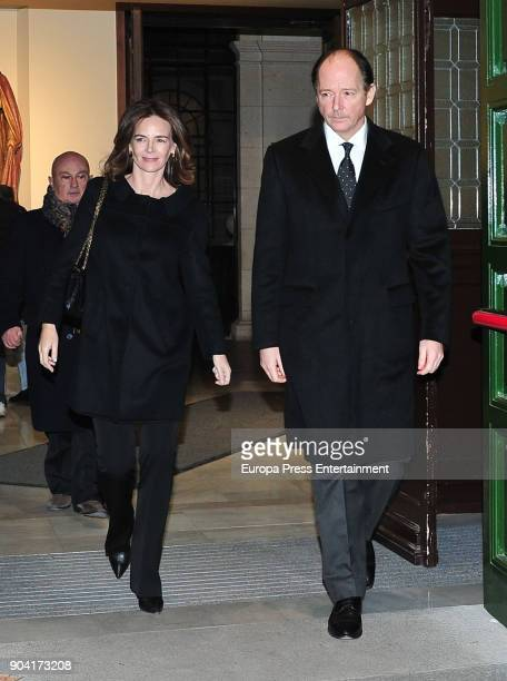 Prince Konstantin of Bulgaria and Maria Garcia de la Rasilla attends the funeral mass for Carmen Franco daughter of the dictator Francisco Franco at...
