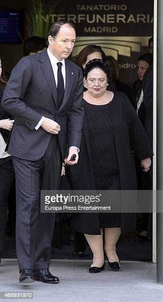 Prince Konstantine of Bulgaria and Grand Duchess Maria of Russia attend the funeral chapel for Prince Kardam of Bulgaria on April 8 2015 in Madrid...