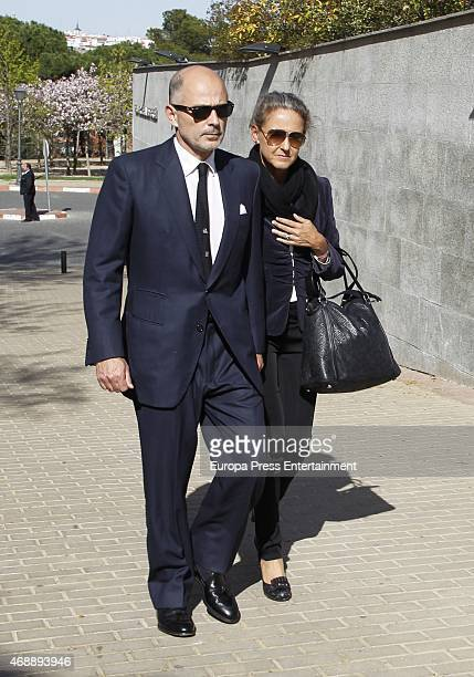 Prince Kubrat of Bulgaria and Carla Royo Villanova attend the funeral chapel for Prince Kardam of Bulgaria on April 7, 2015 in Madrid, Spain.