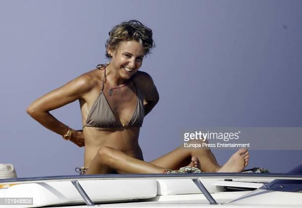 Prince Kubrat of Bulgaria's wife Carla Royo Villanova is seen sighting on August 23 2011 in Ibiza Spain