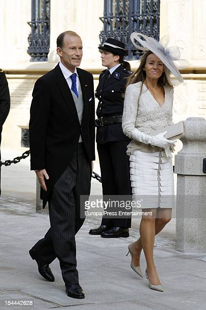 Prince Kyril of Bulgaria and Miriam de Hungria during the wedding ceremony of Prince Guillaume Of Luxembourg and Countess Stephanie de Lannoy at the...