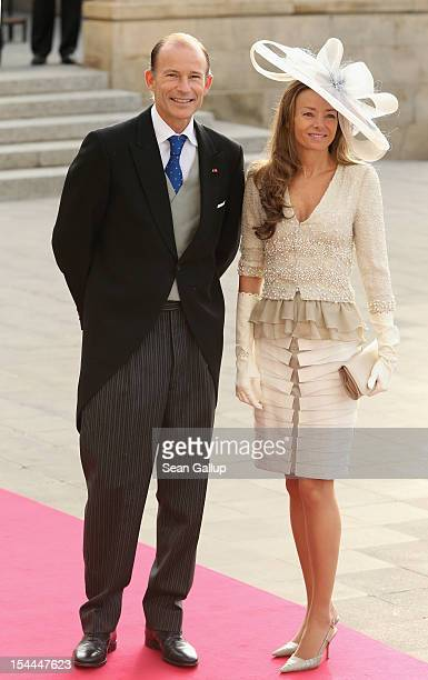 Prince Kyril of Bulgaria and Princess Miriam of Hungary attend the wedding ceremony of Prince Guillaume Of Luxembourg and Princess Stephanie of...