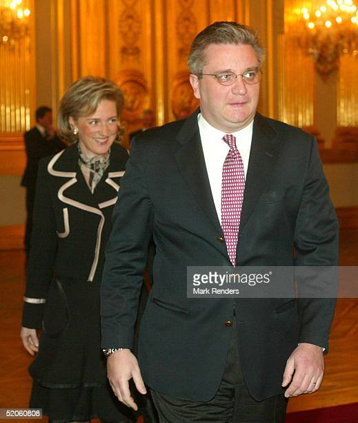 Prince Laurent and Princess Astrid of the Belgium Royal Family walk to the Throne Hall at the Royal Palace on January 25 2005 in Brussels Belgium The...