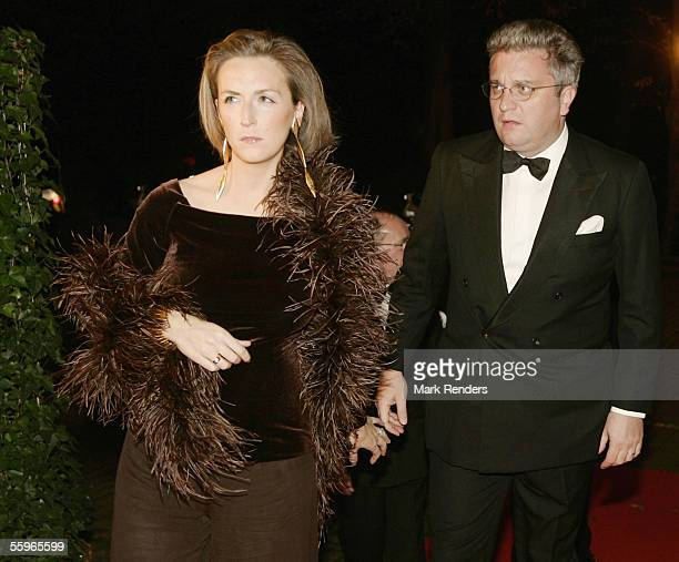 Prince Laurent and Princess Claire of Belgium arrive at a reception at the Cercle Gaulois in Brussels on October 19 2005 in the Belgian capital...