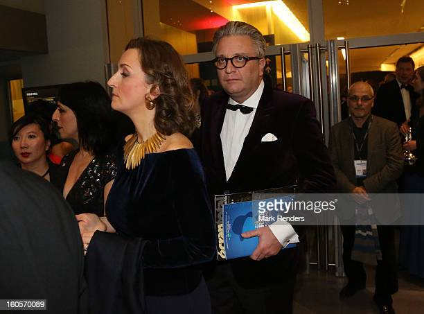 Prince Laurent and Princess Claire of Belgium assist les Magritte du Cinema at the Square on February 2, 2013 in Brussels, Belgium.