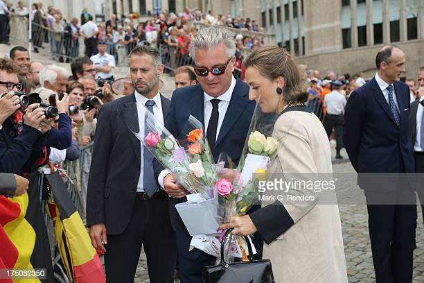 Prince Laurent and Princess Claire of Belgium attend a Mass for the 20th anniversary of King Baudouin's death at Cathedrale des...