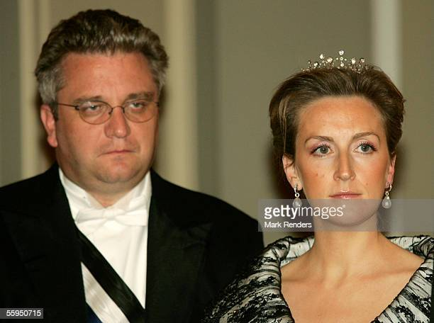 Prince Laurent and Princess Claire pose before the gala dinner at Laeken Castle October 18 2005 in Brussels Belgium Portuguese President Jorge...