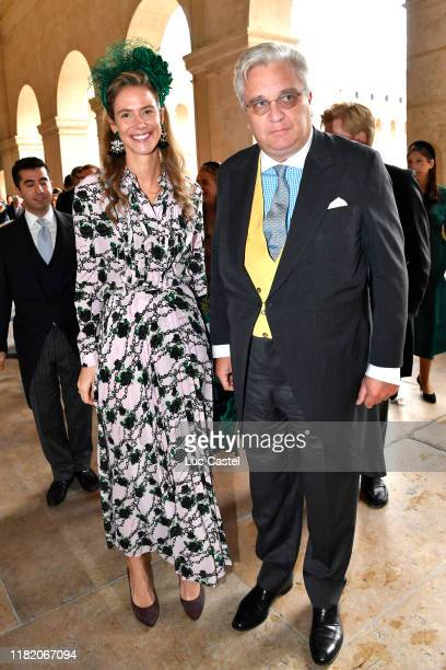 Prince Laurent de Belgique and his wife Princess Maria Annunciata de Liechtenstein attend the Wedding of Prince Jean-Christophe Napoleon and Olympia...