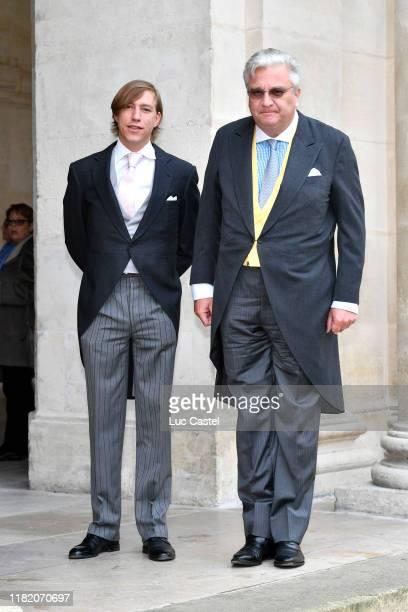 Prince Laurent de Belgique and Prince Louis de Nassau attend the Wedding of Prince Jean-Christophe Napoleon and Olympia Von Arco-Zinneberg at Les...