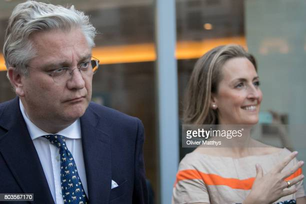 Prince Laurent of Belgium and his wife Princess Claire of Belgium arrive at the Music Chapel where Queen Paola invites to celebrate her 80th...