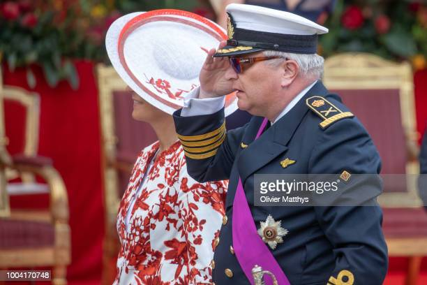 Prince Laurent of Belgium and Princess Claire arrive at the National day Parade on July 21, 2018 in Brussels, Belgium.