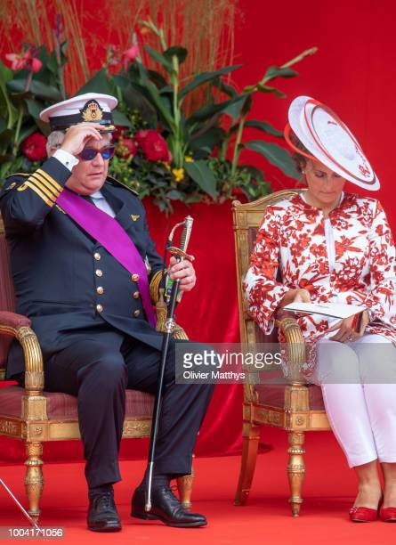 Prince Laurent of Belgium and Princess Claire attend the National day Parade on July 21, 2018 in Brussels, Belgium.