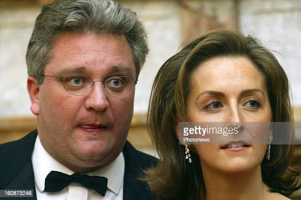 Prince Laurent of Belgium and Princess Claire of Belgium at the gala dinner during the state visit of the Greek President Constantinos Stephanopoulos...