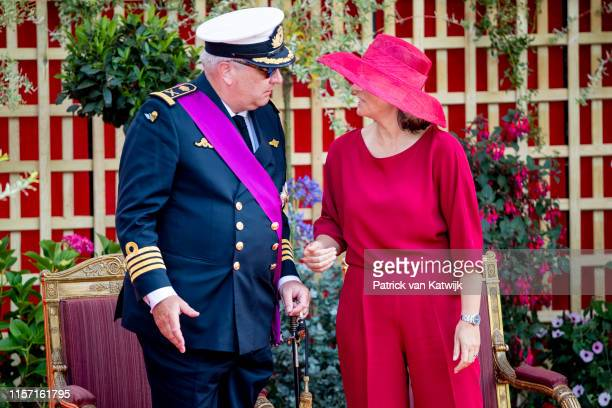 Prince Laurent of Belgium and Princess Claire of Belgium attend the military parade during Belgian National Day on July 21 2019 in Brussels Belgium
